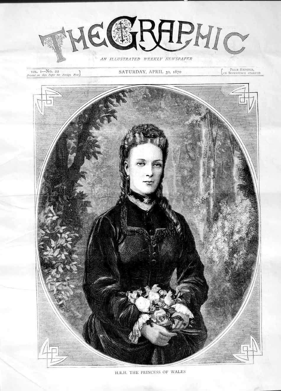 [Print 1870 H.R.H Princess Wales Portrait 505M101 Old Original]