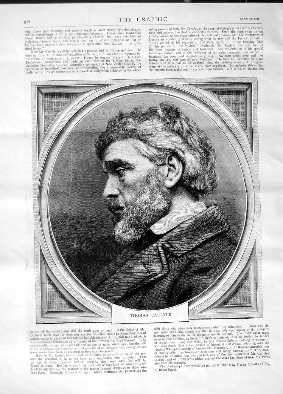 [Print 1870 Portrait Thomas Carlyle Man 516M101 Old Original]