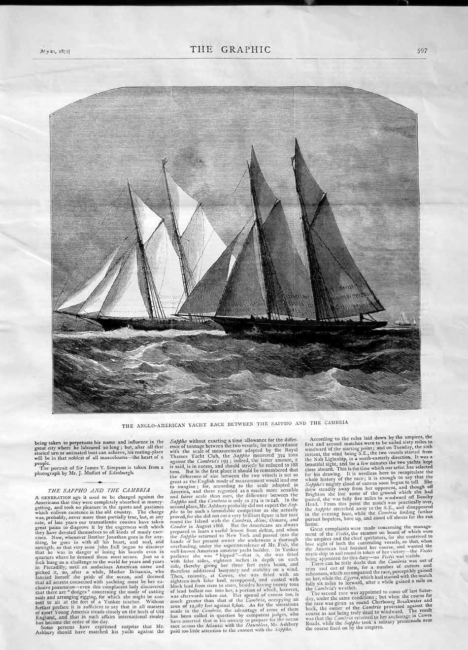 [Print 1870 Anglo-American Yacht Race Sappho Cambria Boats 597M101 Old Original]