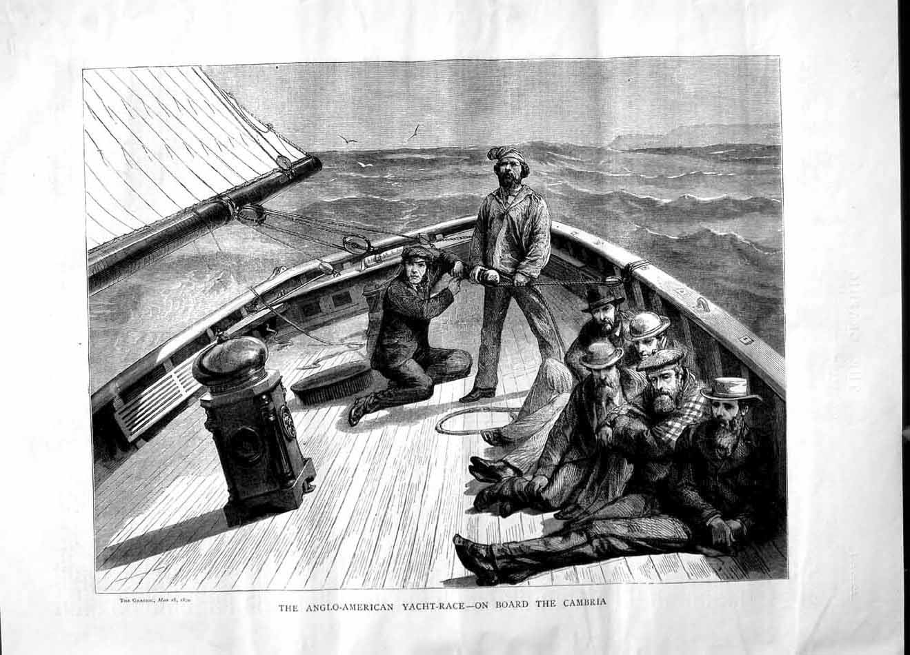 [Print 1870 Anglo-American Yacht Race Cambria Sailing Boat 620M101 Old Original]