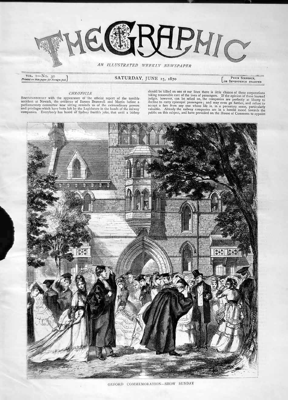 [Print 1870 Oxford Commemoration Show Church People 697M101 Old Original]
