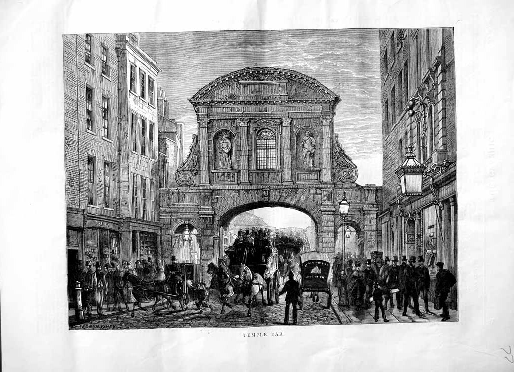 [Print 1870 Scene Temple Bar London Arch Horses Carriage 077M102 Old Original]