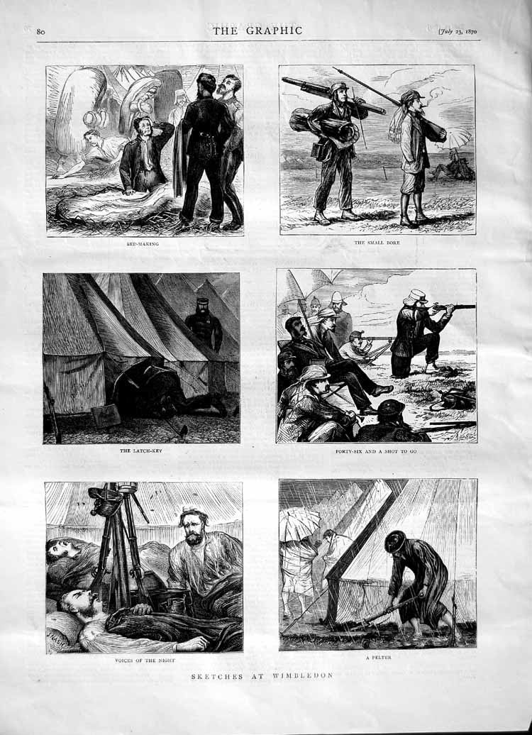 [Print 1870 Wimbledon Rifle Small Bore Shooting Camp Sport 080M102 Old Original]