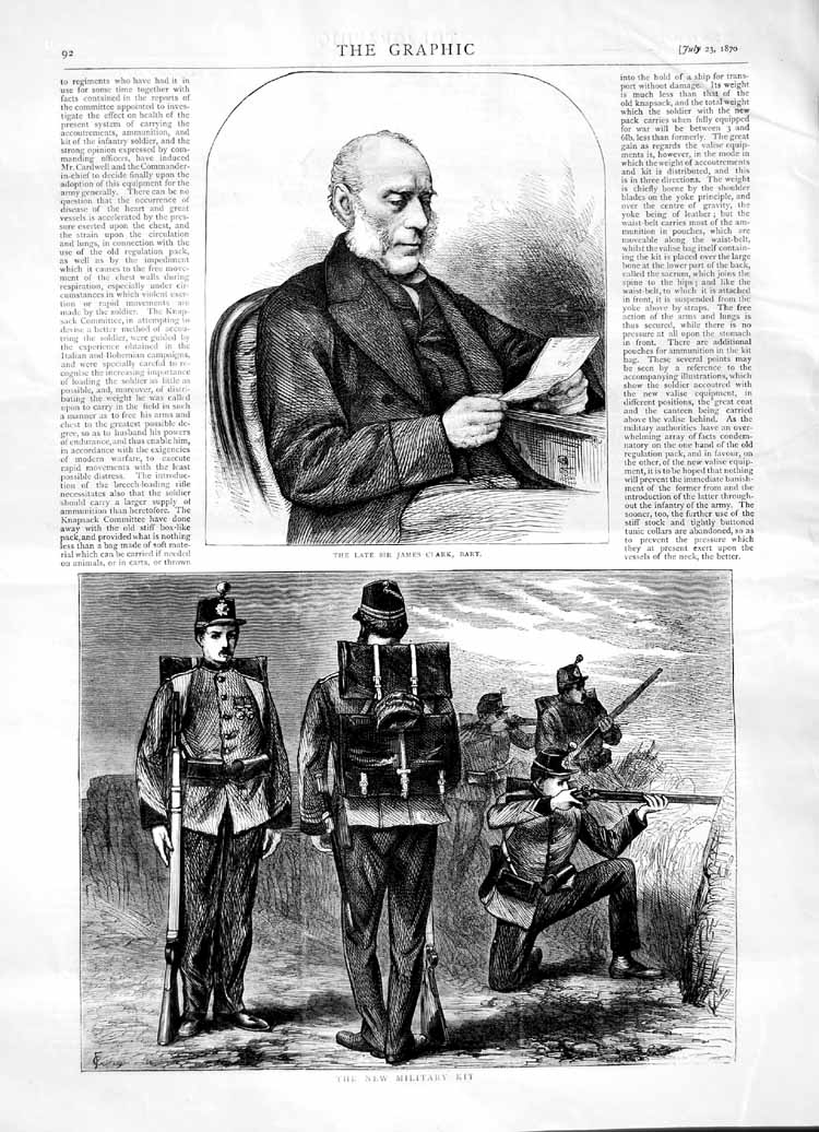 [Print 1870 Sir James Clark New Military Kit Soldiers Uniform 092M102 Old Original]