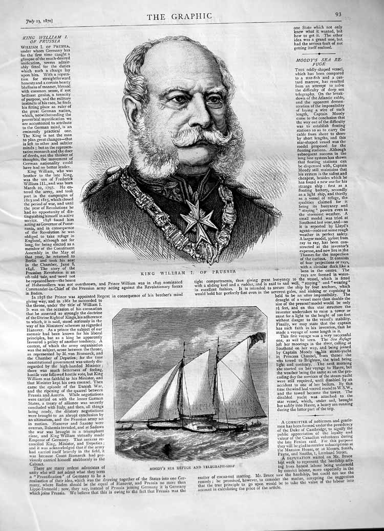 [Print 1870 King William Prussia Moody Sea Telegraph Ship 093M102 Old Original]