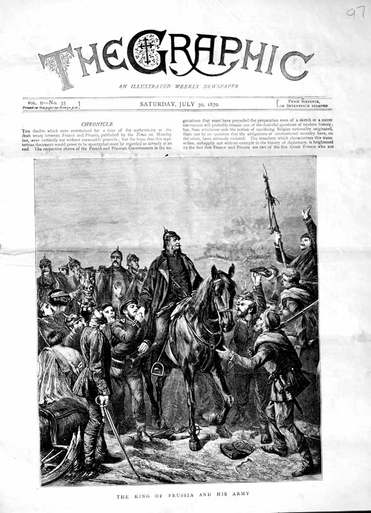 [Print 1870 King Prussia Army Soldiers Horse Weapons 097M102 Old Original]