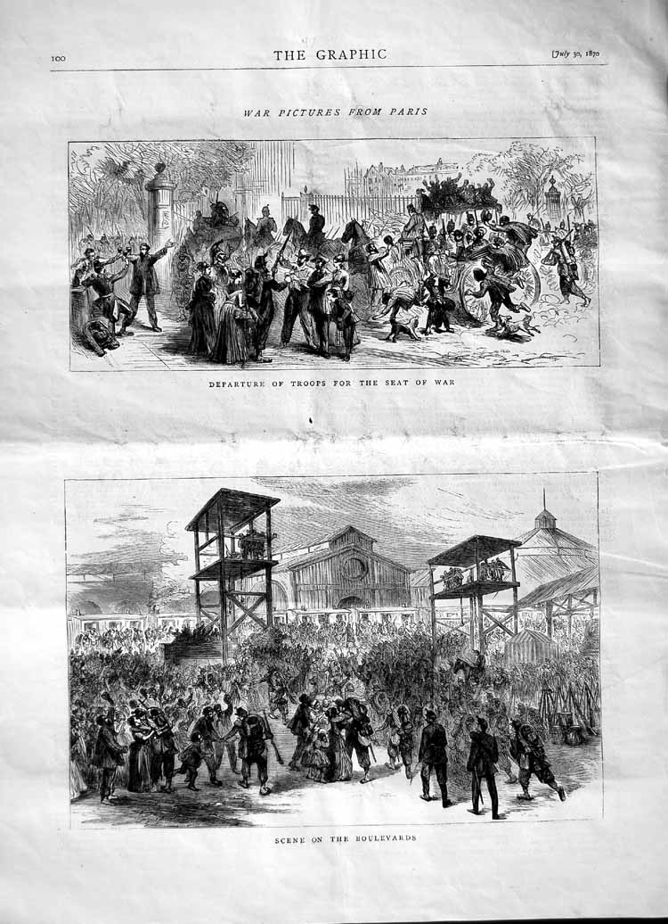 [Print 1870 Paris Scene Boulevards Departure Soldiers War 100M102 Old Original]