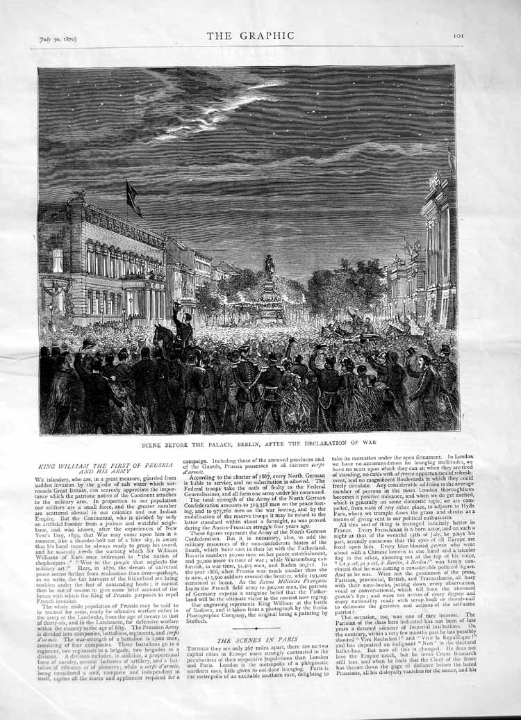 [Print 1870 Scene Palace Berlin Declaration War Germany 101M102 Old Original]