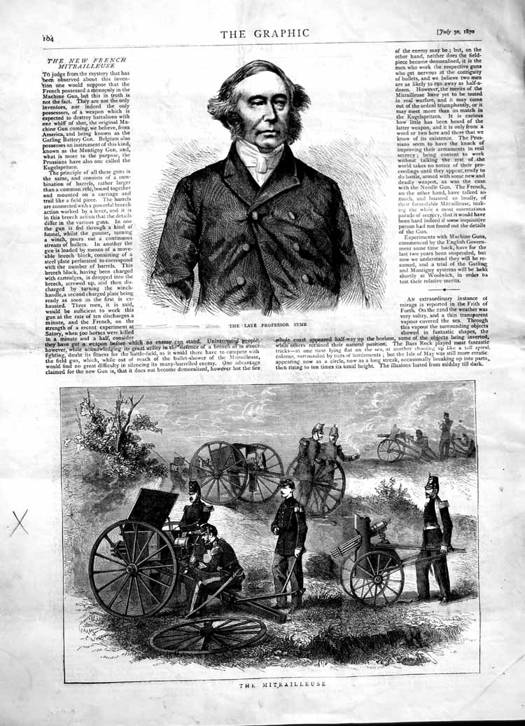 [Print 1870 Professor Syme Mitrailleuse Soldiers Weapons War  Old Original]