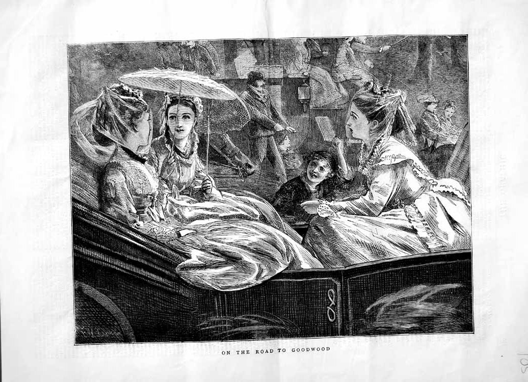 [Print 1870 Young Woman Travelling Goodwood Sport Carriage 105M102 Old Original]