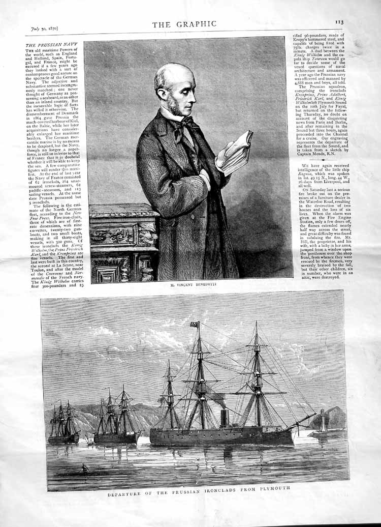 [Print 1870 Vincent Benedetti Prussian Ironclads Portsmouth 113M102 Old Original]
