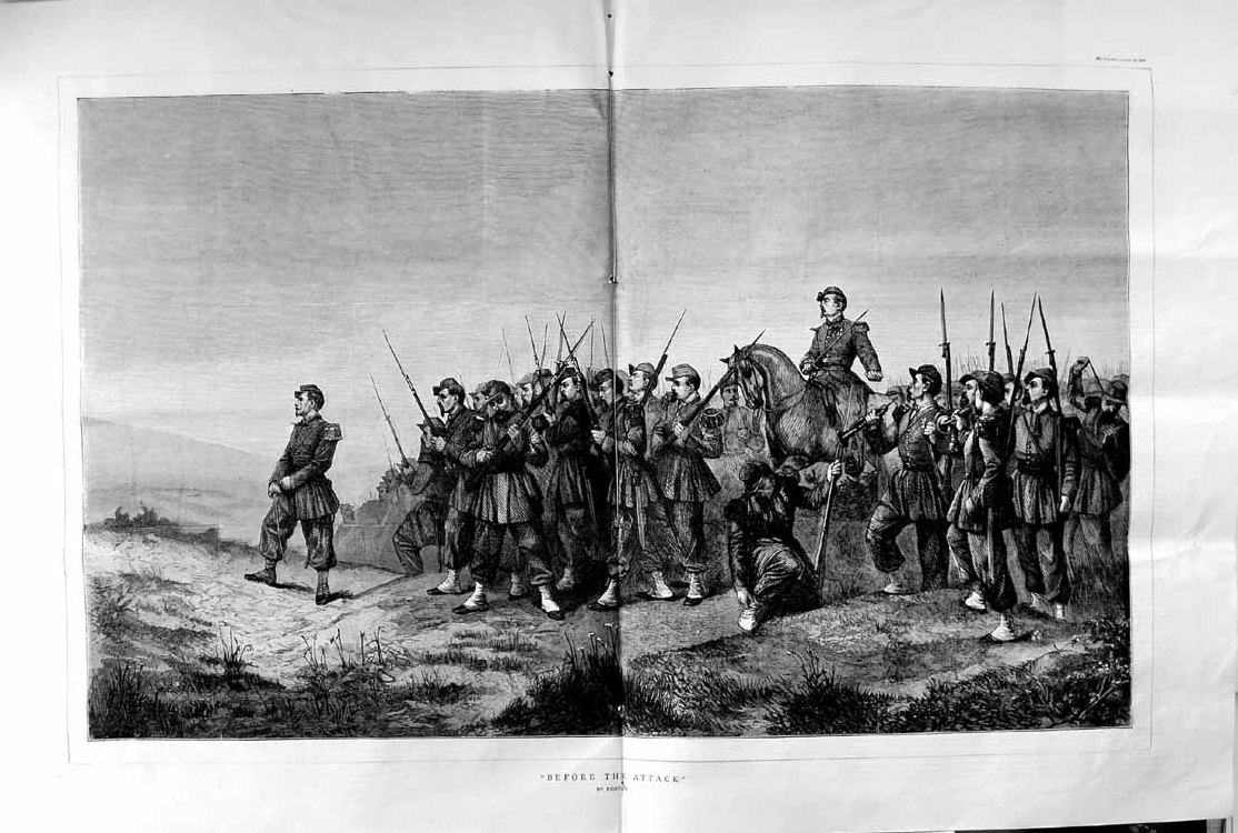 [Print 1870 War Soldiers Army Battle Weapons Rifles Fine Art 179Tm102 Old Original]