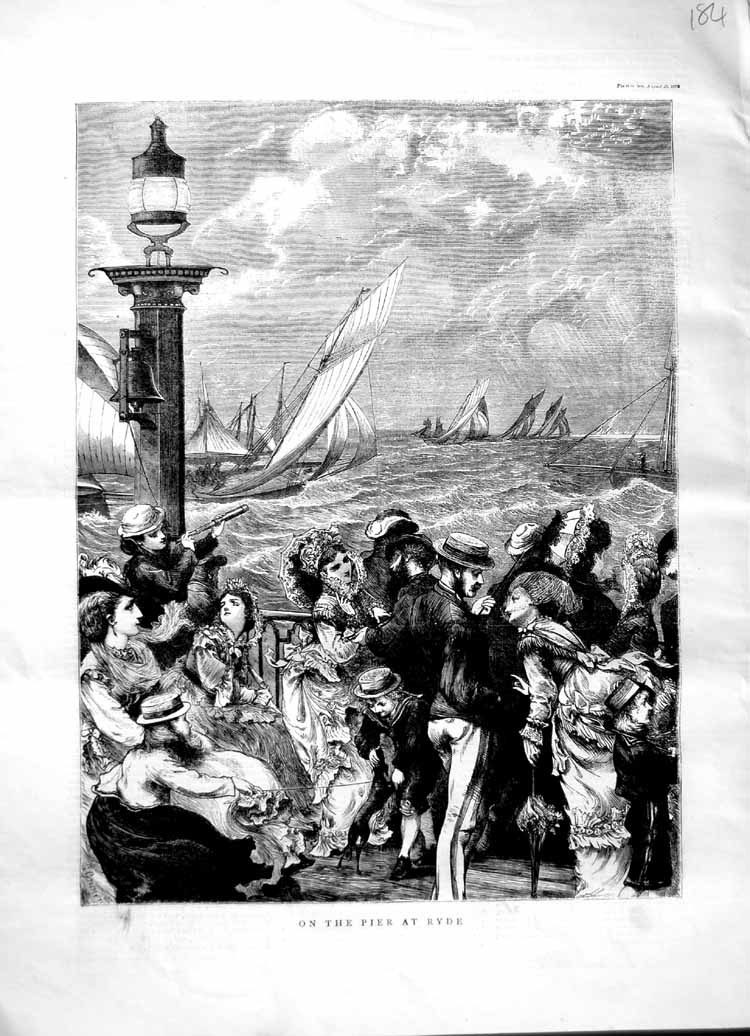 [Print 1870 Scene Pier Ryde England Sailing Yachts People 184M102 Old Original]
