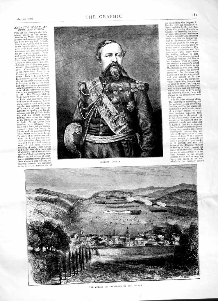 [Print 1870 General Leboeuf Attack Saarbruck French Soldiers 185M102 Old Original]