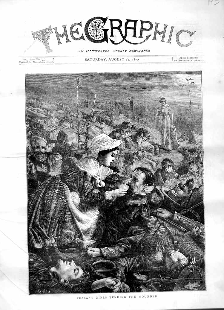 [Print 1870 Peasant Girls Tending Wounded Soldiers War 193M102 Old Original]