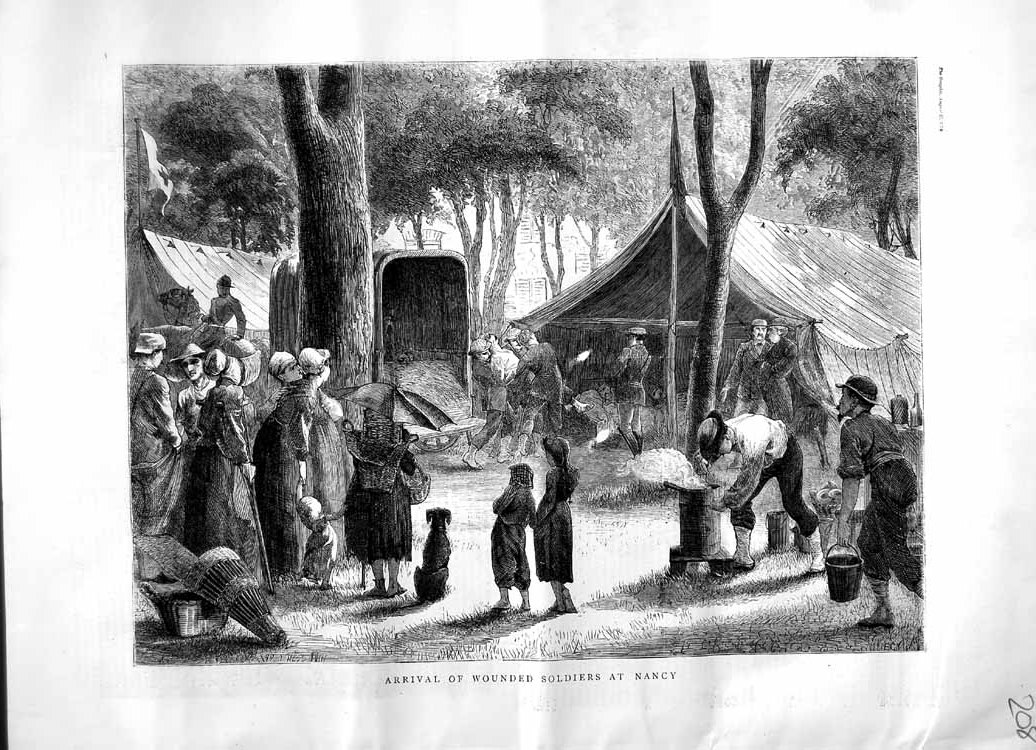 [Print 1870 Arrival Wounded Soldiers Nancy Camp Children Dog 208M102 Old Original]