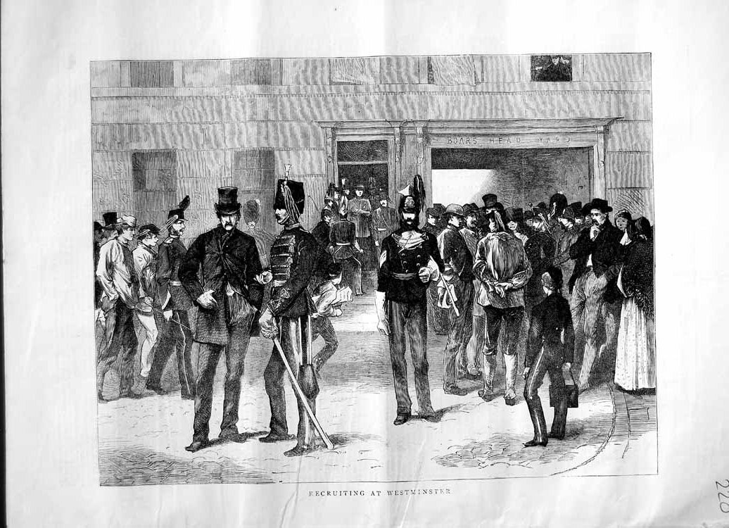 [Print 1870 War Soldiers Recruiting Westminster London 220M102 Old Original]
