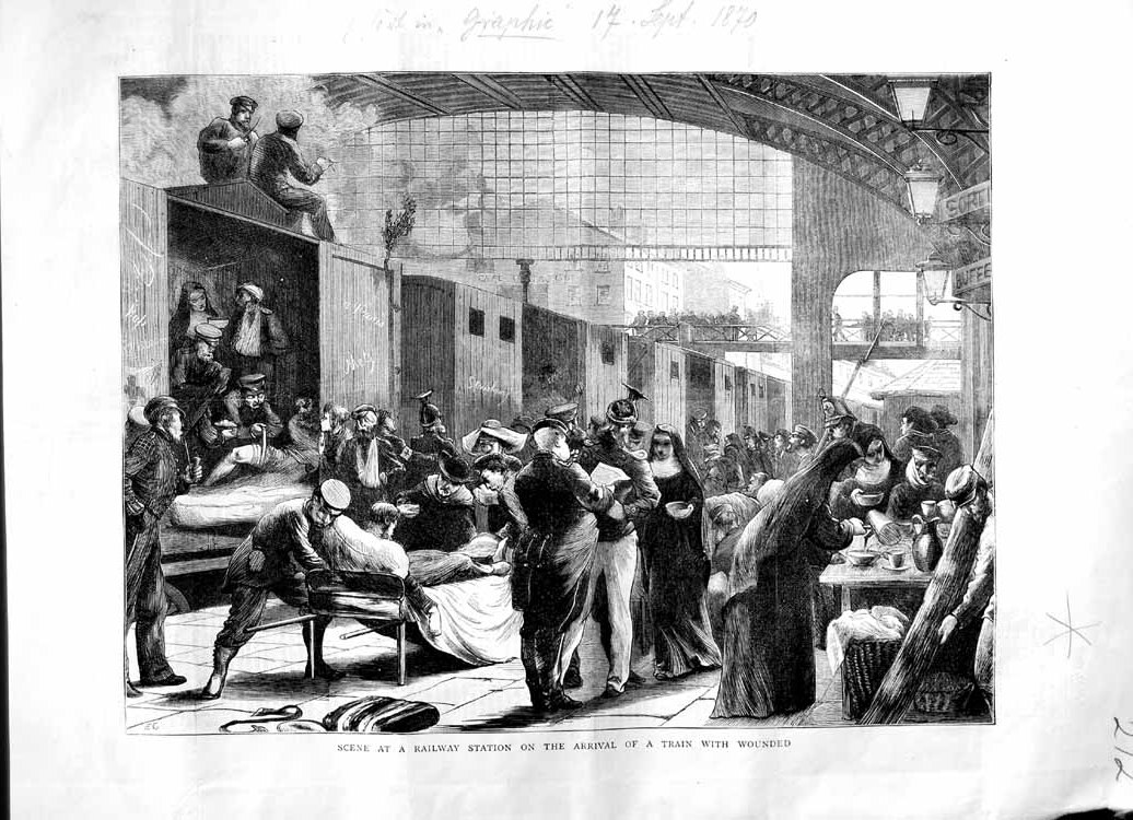 [Print 1870 Scene Railway Station Arrival Train Wounded War 272M102 Old Original]
