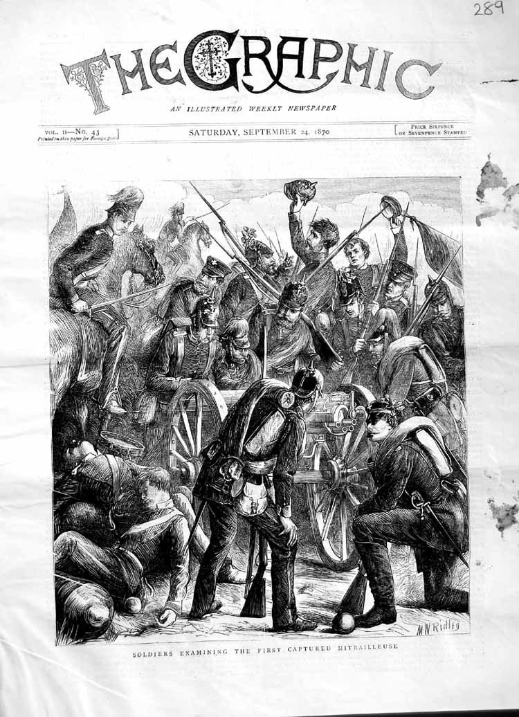 [Print 1870 Soldiers Examining Captured Mitrailleuse War 289M102 Old Original]