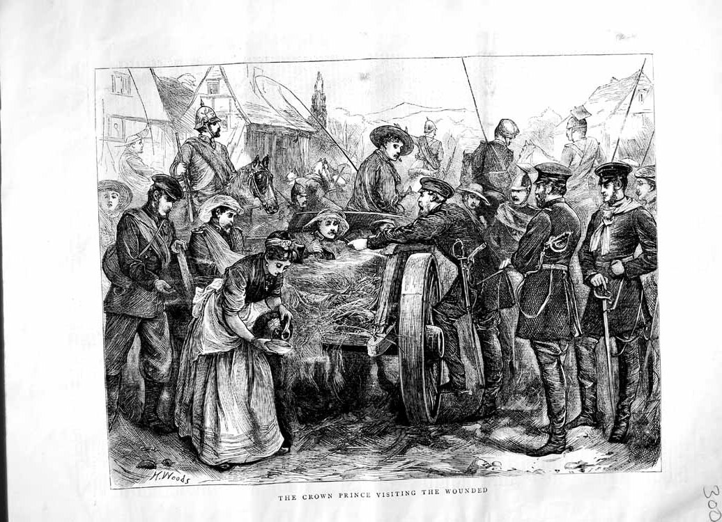 [Print 1870 Scene Crown Prince Visiting Wounded War Soldiers 300M102 Old Original]