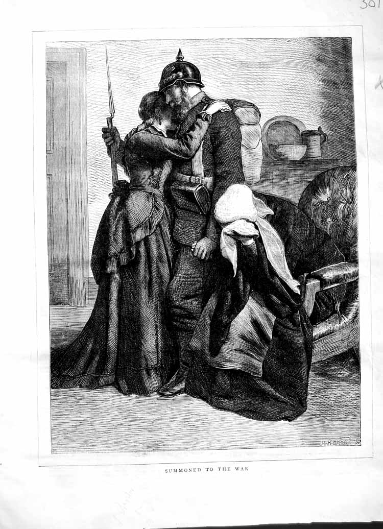 [Print 1870 War Soldier Leaving Home Wife Family 301M102 Old Original]