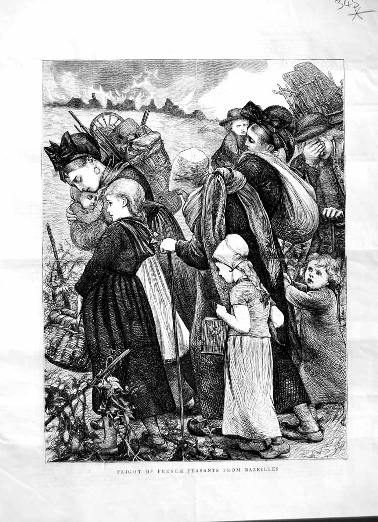 [Print 1870 French Peasant Families France Bazeilles Children 345M102 Old Original]