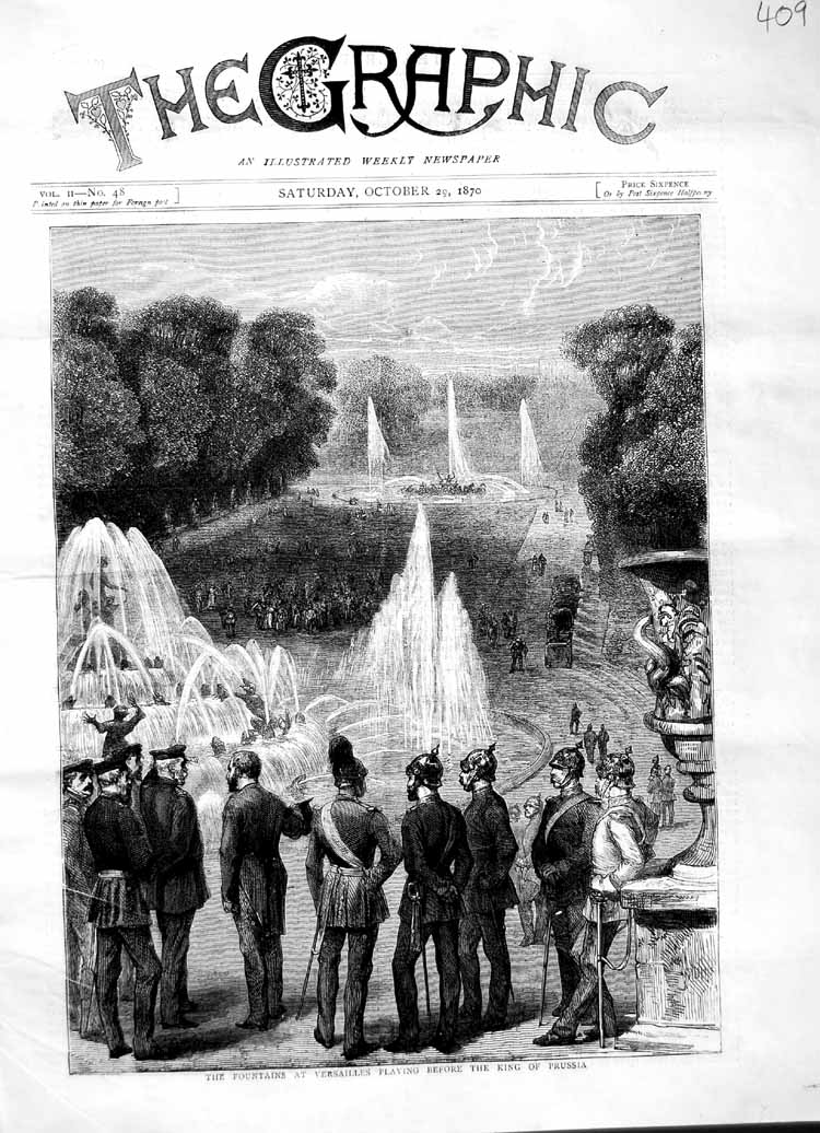 [Print 1870 Fountains Versailles King Prussia France 409M102 Old Original]
