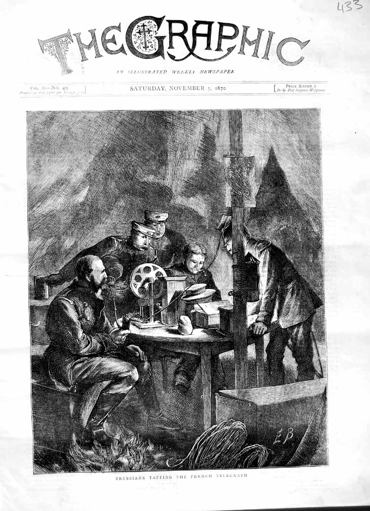 [Print 1870 Prussians Tapping French Telegraph War Sodliers 433M102 Old Original]