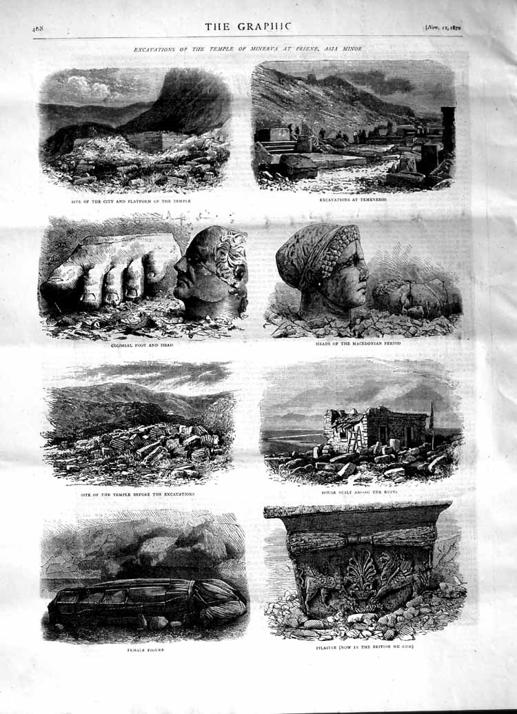 [Print 1870 Archaeology Temple Minerva Priene Asia Minor 468M102 Old Original]