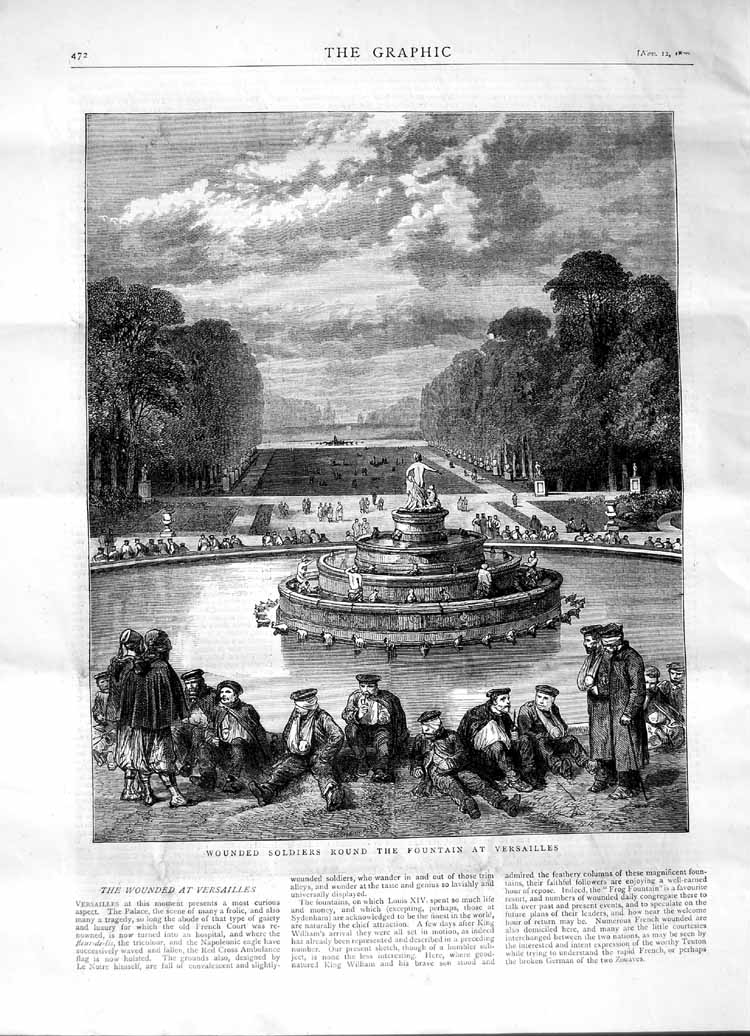 [Print 1870 Wounded Soldiers Fountain Versailles France 472M102 Old Original]