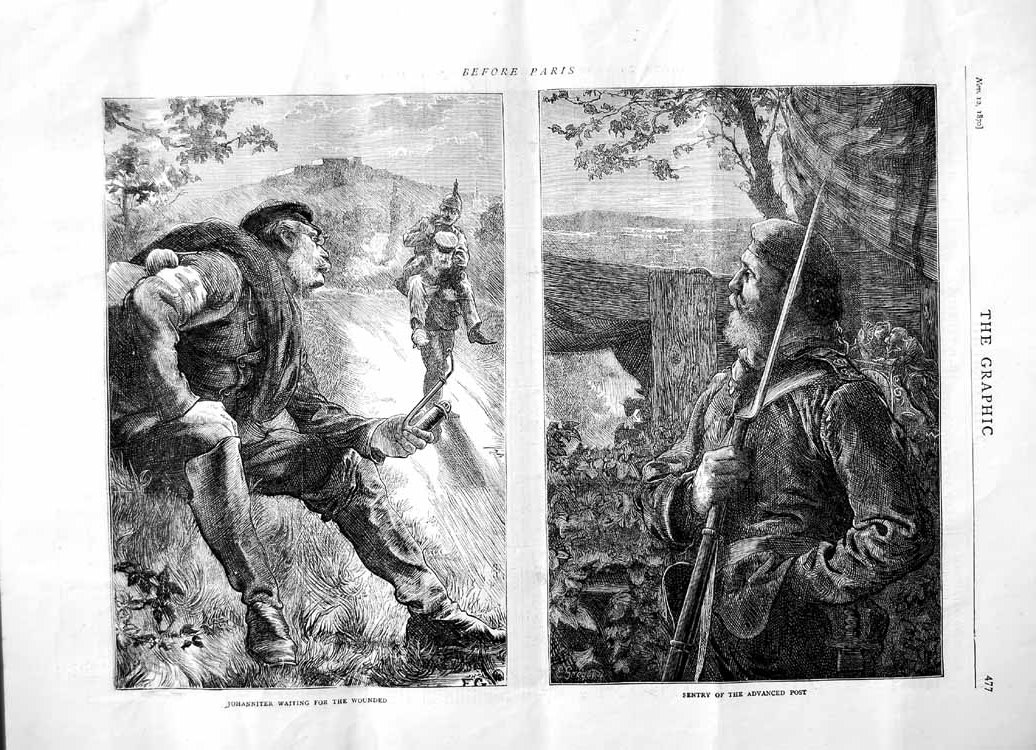 [Print 1870 Johanniter Sentry Advanced Post War Paris France 477M102 Old Original]