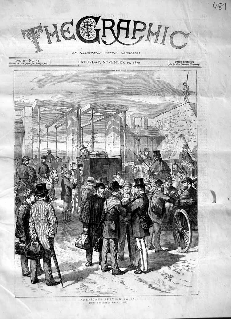 [Print 1870 Scene American'S Leaving Paris France Transport 481M102 Old Original]