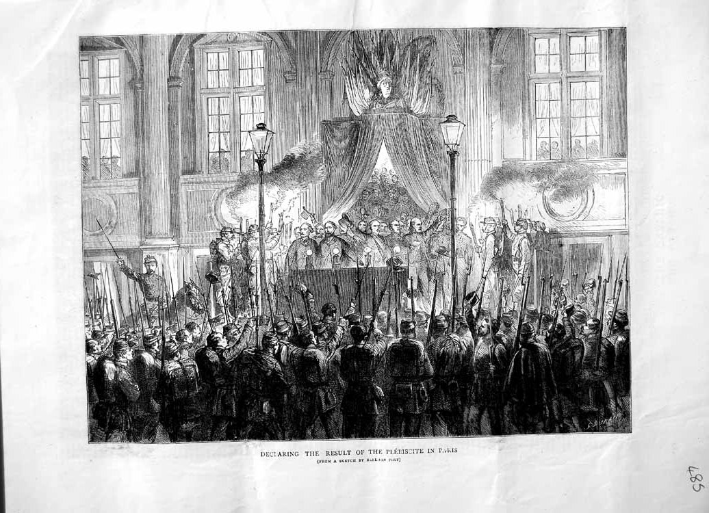 [Print 1870 Declaring Result Plebiscite Paris France Soldiers 485M102 Old Original]