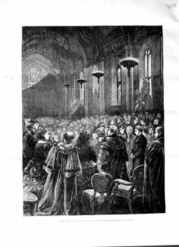 [Print *3071 1870 Prince Arthur Albert Memorial Window Guildhall 488M102 Old Original]