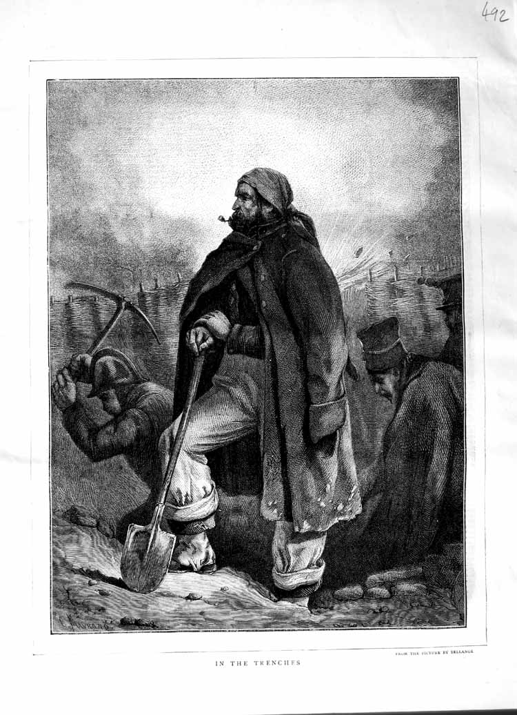 [Print 1870 Trenches Soldiers Digging War 492M102 Old Original]