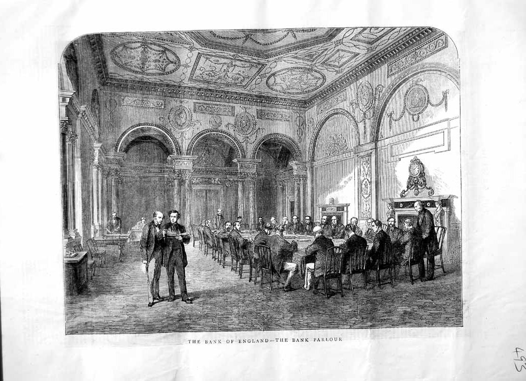 [Print 1870 Bank England Parlour Men Table Chairs Meeting 493M102 Old Original]