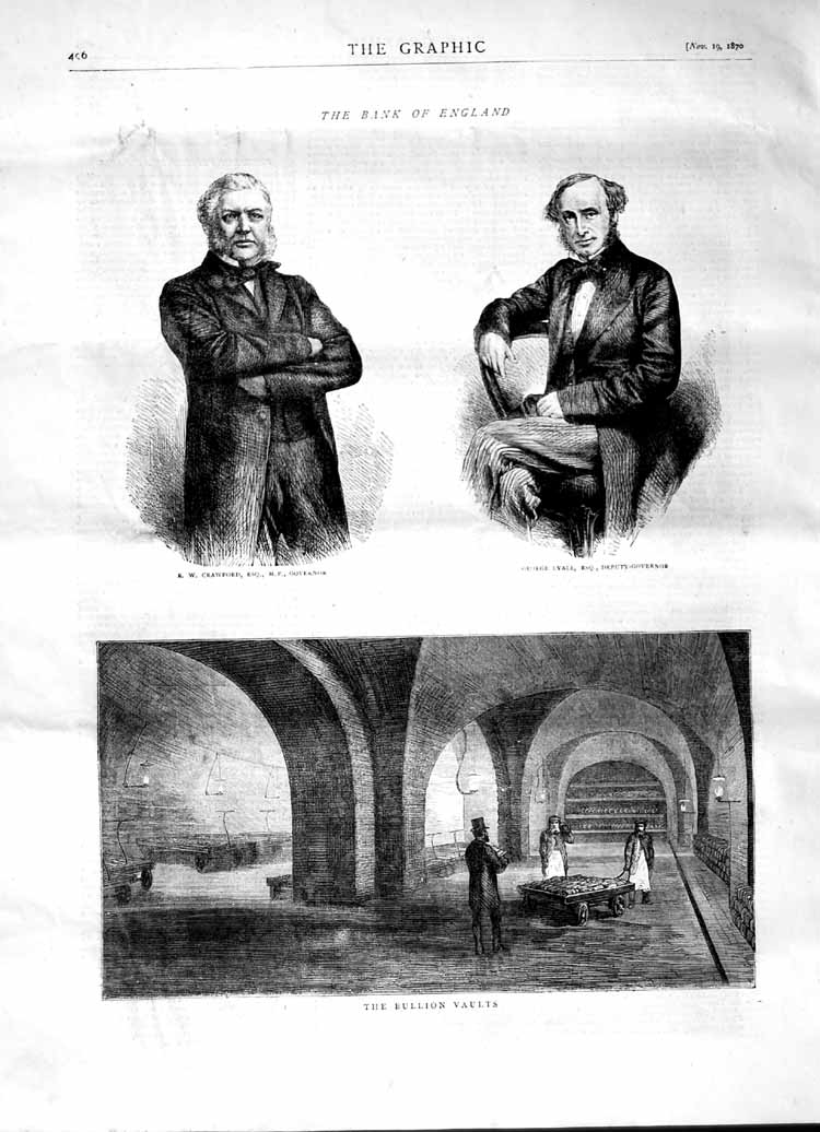 [Print 1870 Bullion Vaults Crawford Bank England George Lyall 496M102 Old Original]