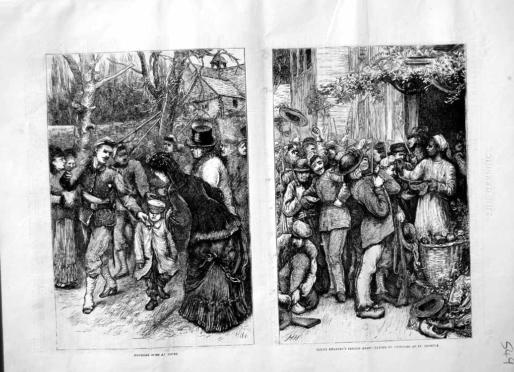 [Print 1870 Prussian Spies Tours Count Keratry Breton Army  Old Original]