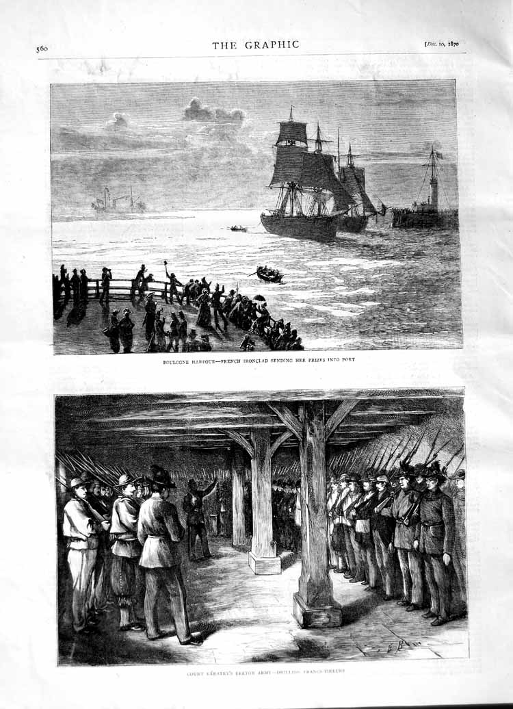 [Print 1870 Boulogne Harbour French Ship Keratry Breton Army 560M102 Old Original]