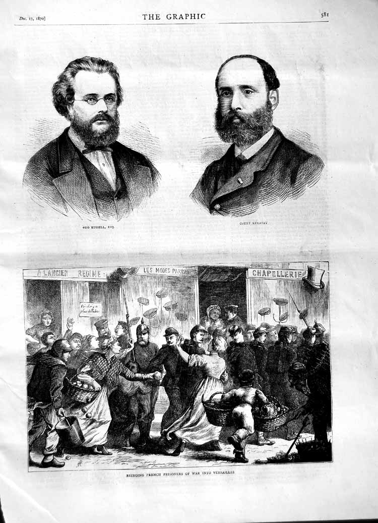 [Print 1870 French Prisoners War Versailles Russell Keratry 581M102 Old Original]