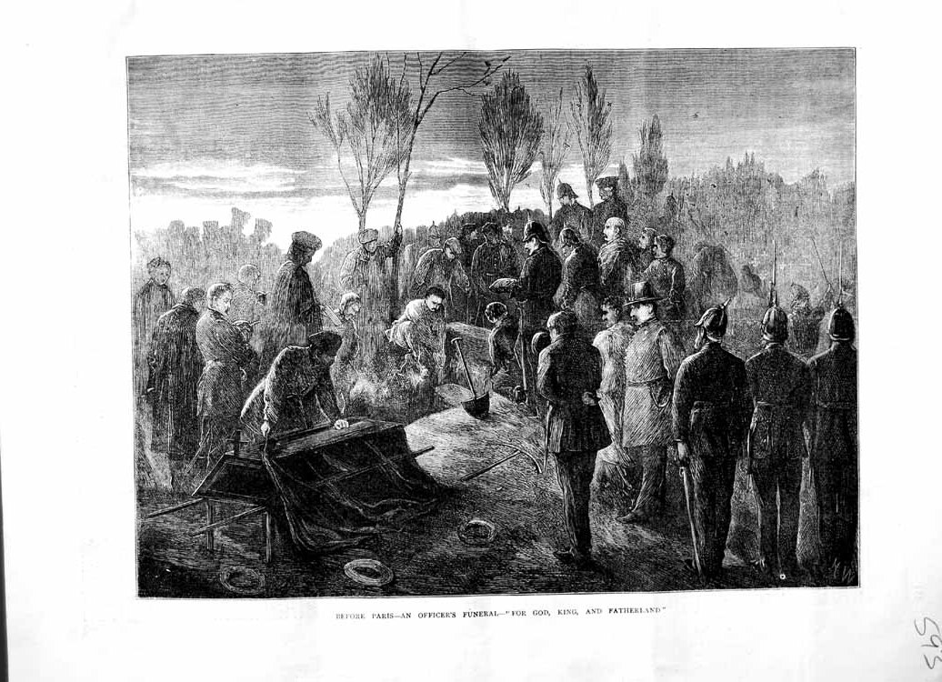 [Print 1870 Paris Officer'S Funeral Soldiers War Grave France 593M102 Old Original]
