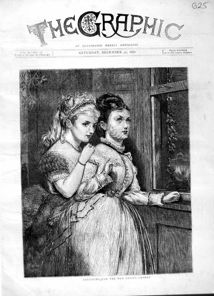 [Print 1870 Children Young Girls Listening New Year'S Chimes 625M102 Old Original]
