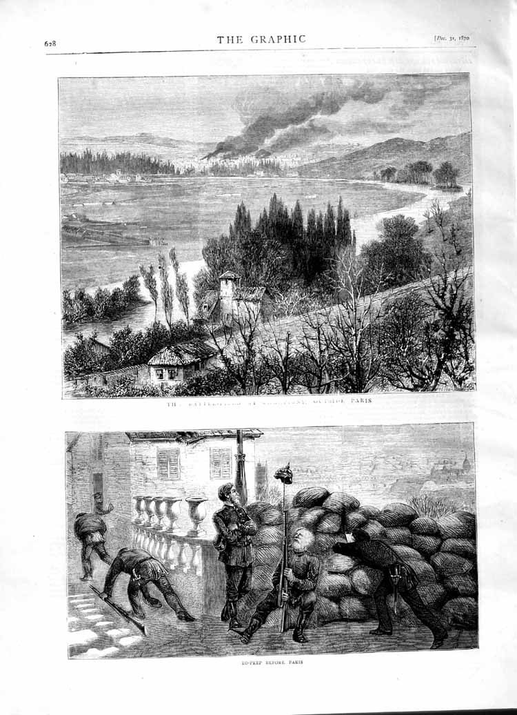 [Print 1870 Paris France Soldiers Weapons Country 628M102 Old Original]
