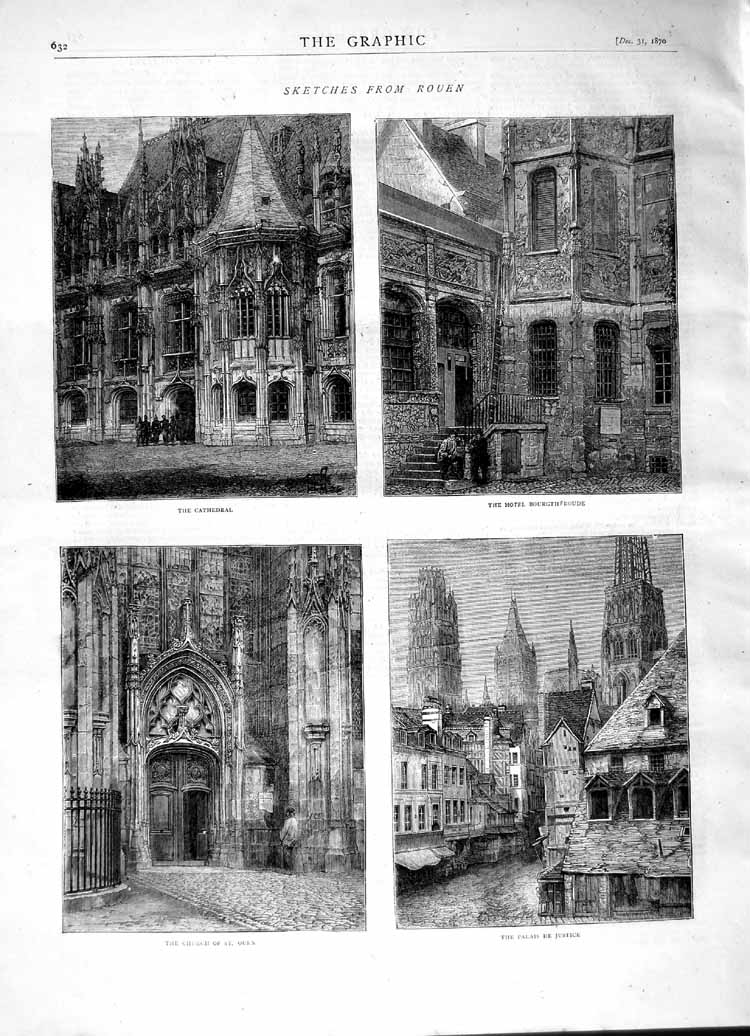 [Print 1870 Rouen Cathedral Hotel Bourghfroude Church Palais 632M102 Old Original]
