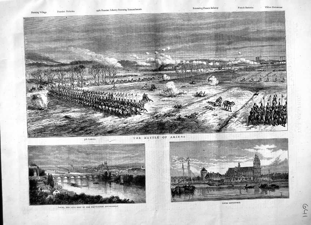 [Print 1870 Battle Amiens Lancers Soldiers Tours Cathedral 641M102 Old Original]