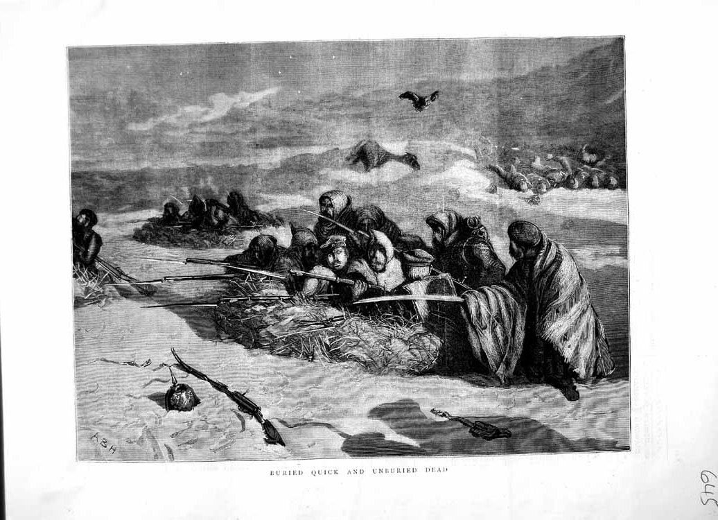[Print 1870 Buried Dead Bodies Soldiers War Vultures 645M102 Old Original]