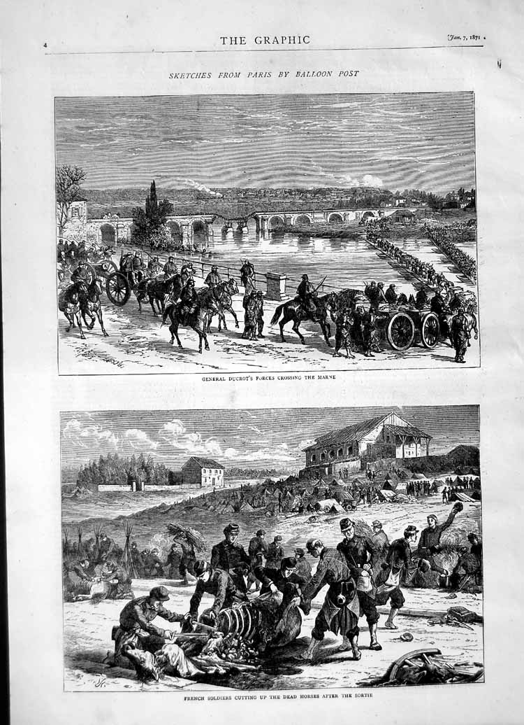 [Print 1871 General Ducrot Marne River France Soldiers Horses 004M103 Old Original]