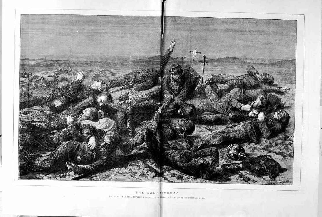 [Print 1871 War Soldiers Hill Champigny Villiers France Battle 009Tm103 Old Original]