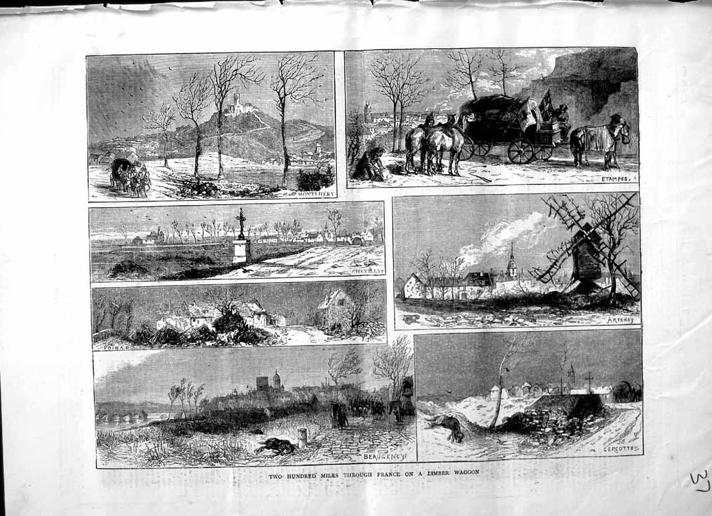 [Print 1871 France Montlhery Chevilly Beaugency Cercottes 037M103 Old Original]