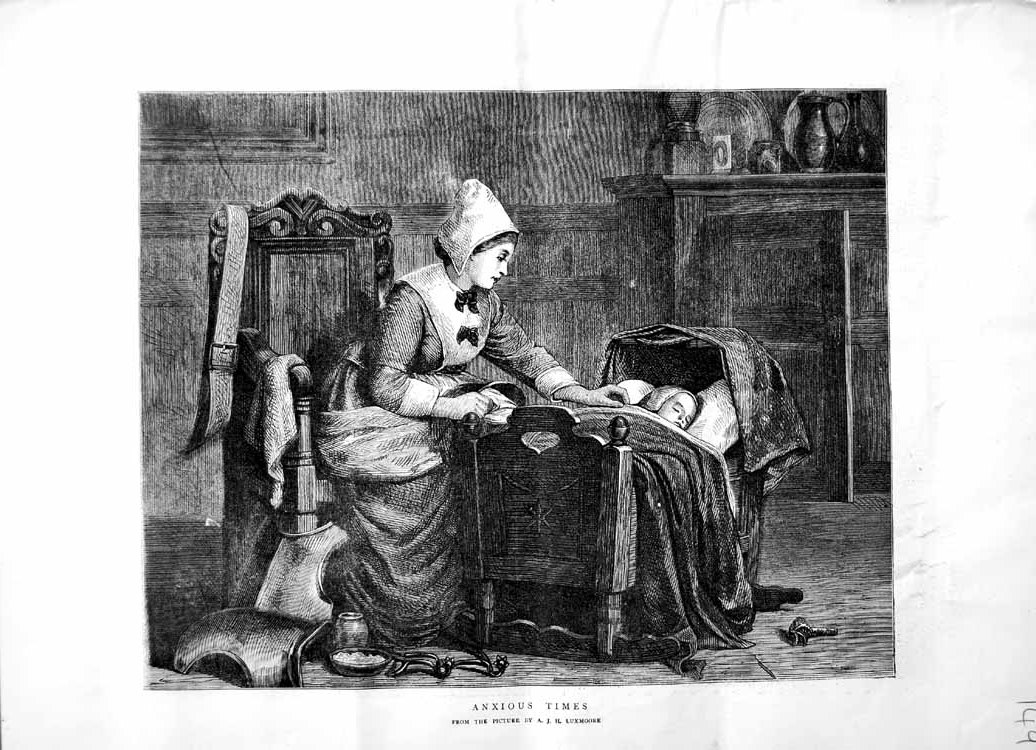 [Print 1871 Mother Baby Crib Sick House Scene Luxmoore 149M103 Old Original]